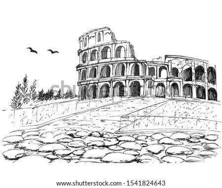 Ancient Coliseum painted with ink