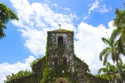 Ancient colonial church. Jamaica at sunny day