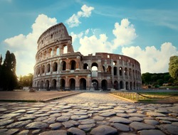 Ancient Colosseum in Rome in the afternoon