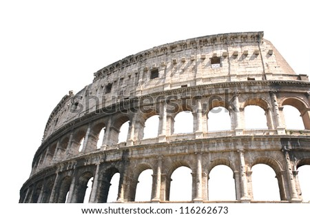 Ancient Colosseum, Rome, Italy. Isolated over white