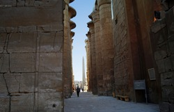Ancient column, obelisk and pillar in Temple of Karnak. Egypt