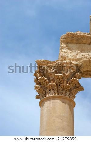 Ancient columns close up, Palmyra ruins, Syria.