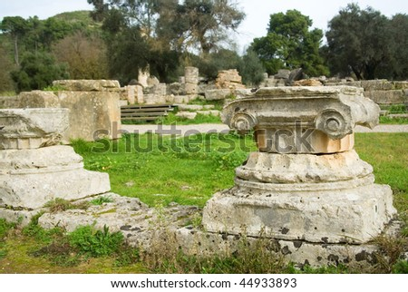 Ancient columns in Archea Olympia, the site where the Olympic Games were held in classical times. Peloponnese, Greece