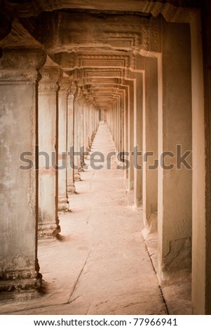 Ancient columns in the temple, Angkor Wat, Cambodia