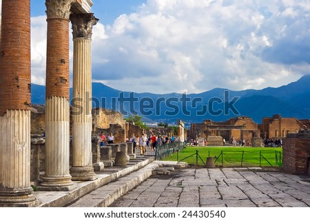 Ancient columns ruins after the eruption of Vesuvius in Pompeii, Italy