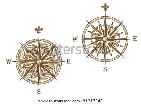 Ancient compass isolated on white background for travel design, such a logo. Vector version also available in gallery - stock photo