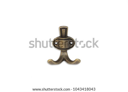 Ancient copper hanger hook for clothes and towels on a white background #1043418043
