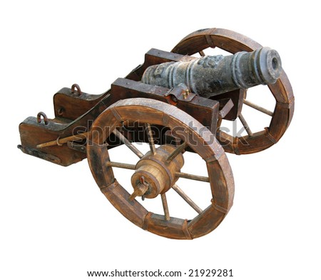 Ancient Cossack gun on a white background - stock photo