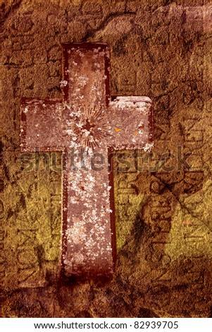 Ancient cross in a grungy way with headstone over 300 years old.
