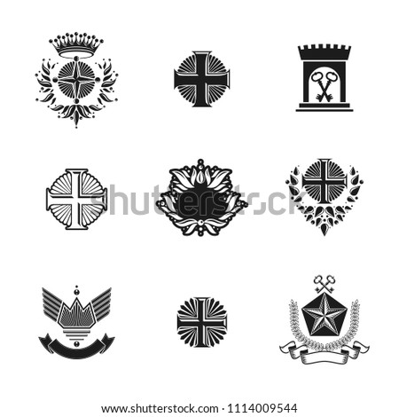Ancient Crosses Crown Stars and flowers emblems set. Heraldic Coat of Arms, vintage logos collection. #1114009544