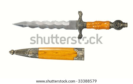 ancient dagger knife with case isolated on white