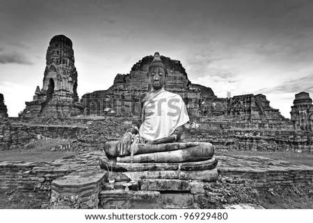 Ancient damage buddha statue Black and White style, Ayutthaya , Thailand.