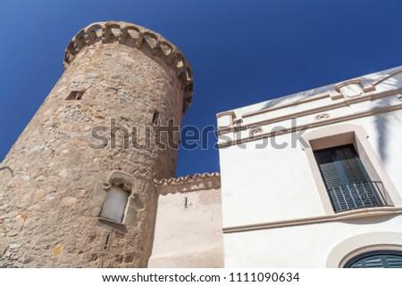 Ancient defense tower, Torre Nadal in Vilassar de Mar,Catalonia. Zdjęcia stock ©