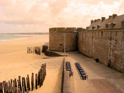 Ancient defensive walls of the city of St. Malo, France