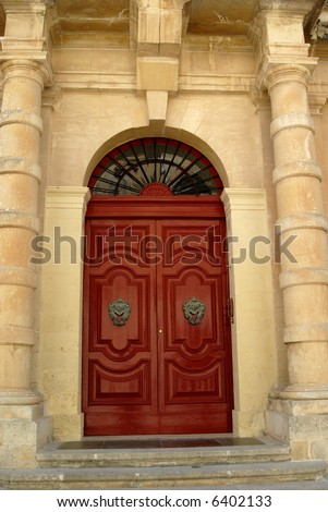 ancient door in a church in malta island