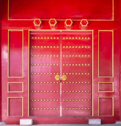 Ancient door of Chinese temple. Confucian Temple, located in Harbin, Heilongjiang, China.