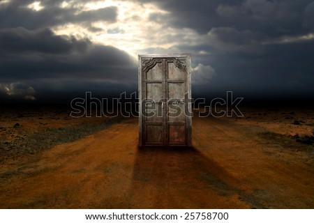 Ancient door on road of desert