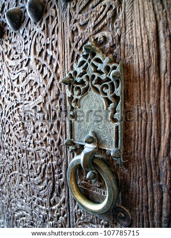 Ancient doorhandle in Khiva. Uzbekistan