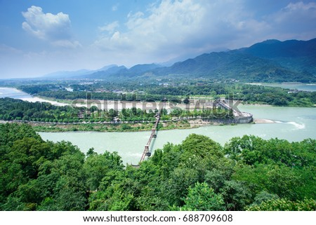 Ancient Dujiangyan irrigation system in Dujiangyan City, Sichuan province of  China.