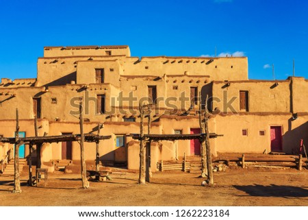 Ancient dwellings of UNESCO World Heritage Site named Taos Pueblo in New Mexico. Taos Pueblo is believed to be one of the oldest continuously inhabited settlements in USA.