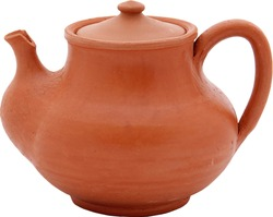 Ancient Earthenware Turkish Tea Pot Pottery Isolated on White Background