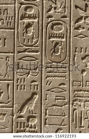 Ancient egypt hieroglyphs carved on the stone in the Karnak Temple, Luxor