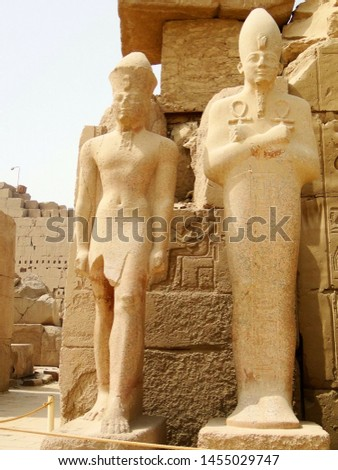 Ancient Egyptian buildings in Kanark Temple Complex near Luxor in Egypt, comprises a vast mix of ancient Egyptian decayed temples, chapels, pylons and buildings, as main place of worship with god Amun