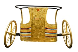 Ancient Egyptian ceremonial chariot isolated with clipping path. Modern copy inspired by those found in the tomb of Tutankhamen.