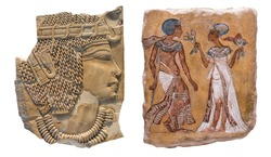 Ancient Egyptian paintings carved on old yellow stone