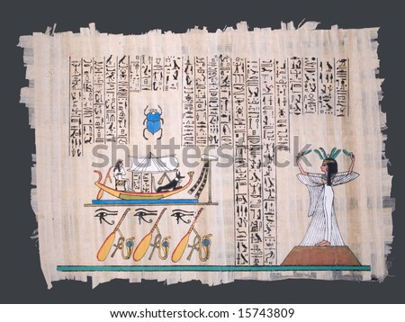 ancient egyptian papyrus with nile boat, goddess and hieroglyphs