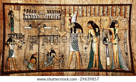 Ancient egyptian papyrus with pharaoh - stock photo