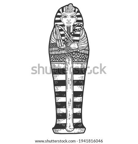 Ancient Egyptian Pharaon Tutankhamun Sarcophagus. Sketch scratch board imitation. Stock photo ©