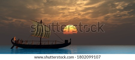 Ancient Egyptian Ship 3d illustration - Two boatmen sail on a quiet ocean in an ancient historical Egyptian sailing ship as the sun sets at the horizon.