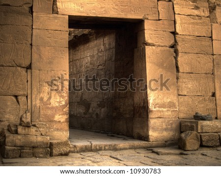 Ancient Egyptian Tomb Doorway in Temple in Luxor, Egypt.