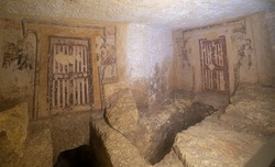 Ancient Etruscan Tombs of Tarquinia in Italy. Painted funeral chambers.