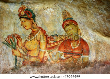 Ancient famous wall paintings (frescoes) at Sigirya Sri Lanka