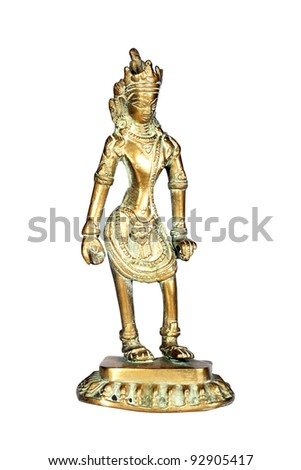 Ancient figure of Indian God isolated over white with clipping path