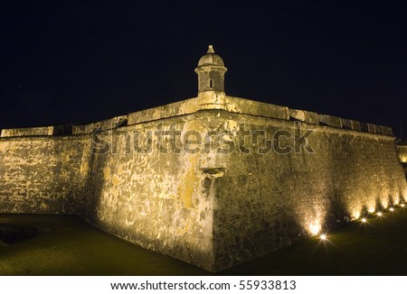 Ancient fort called El Morro in San Juan, Puerto Rico.