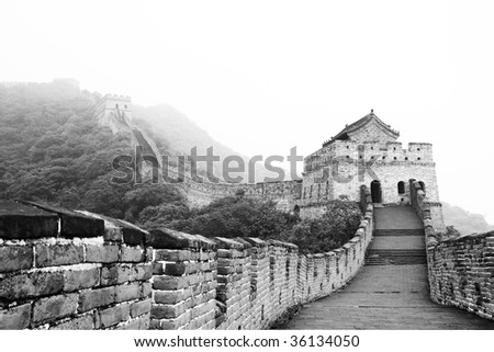 Ancient fortress guarding Great Wall of China in Beijing during summer