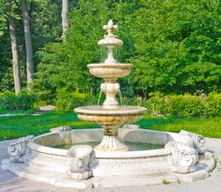 Ancient Fountain in Kuzminki Park, Moscow, Russia, East Europe