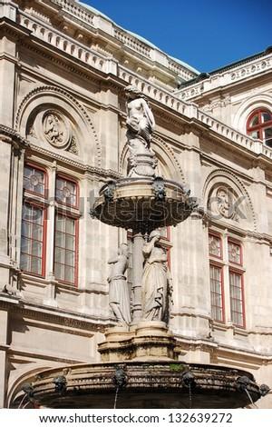 ancient fountain in Vienna , Austria