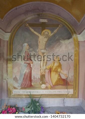 Ancient fresco in old oratory in Leontica, Blenio Valley (Switzerland)