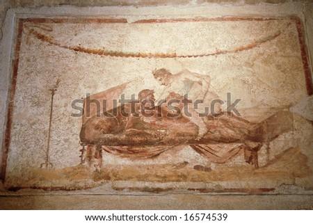 ancient fresco in Pompeii,  adult brothel artwork
