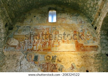 Ancient fresco paintings on the Medieval byzantine fortress of Mystras (UNESCO World heritage), near to historical city of Sparta. Greece.