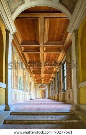Ancient gallery in german Duke of Landshut Residence near Munich, the first renaissance palace outside of Italy