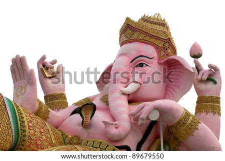Ancient Ganesha (god of hinduism), Thailand in isolated background.