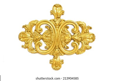 Stock Photo - of an ancient gold ornament on a white background