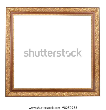 Ancient golden frame with pattern isolated on white background