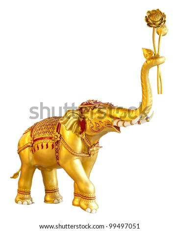 Ancient goldent elephant statue with white isolated background.