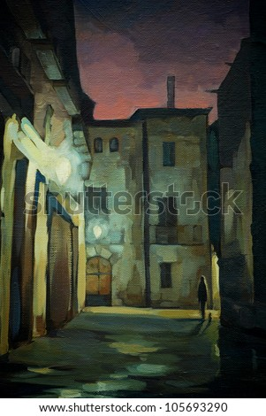 ancient Gothic quarter in Barcelona at night, painting, illustration